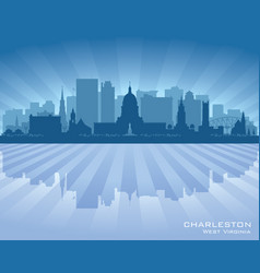 charleston west virginia city skyline silhouette vector image