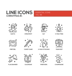 Christmas and New Year - simple line design icons vector image
