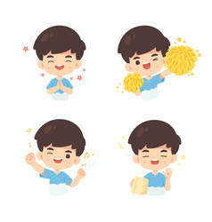 collection cute boy in many pose vector image