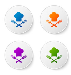 Color chef hat and crossed fork icon isolated on vector