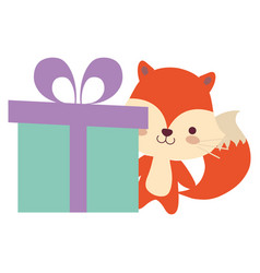 cute and little fox with gift vector image