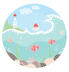 Cute in circle with lighthouse vector