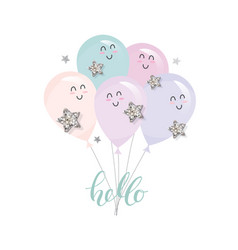 Cute kawaii balloons for birthday bashower or vector