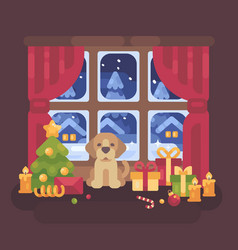 cute puppy sitting at the window with a snowy vector image