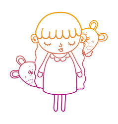 Degraded line beauty girl child with mice animals vector