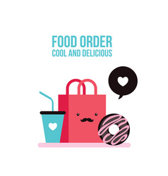 Delicious donut coffee and shopping bag cute foo vector