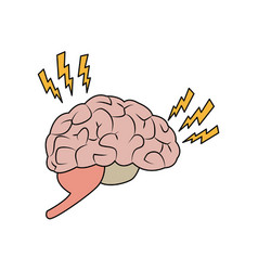 Drawing brain human pain sick organ vector