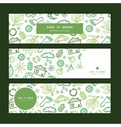 ecology symbols horizontal banners set pattern vector image