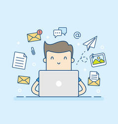 email concept with man and laptop vector image