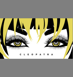 Eye lashes and hair hand-drawn woman s vector