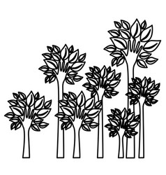Figure trees with stem in form hand icon vector