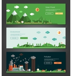 Flat design natural and ecological landscapes vector
