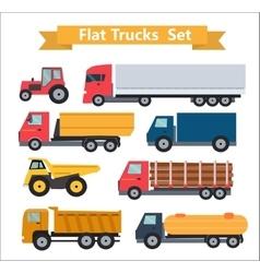 Flat Trucks Set vector image