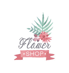 flower shop colorful logo template label or badge vector image