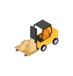 Forklift truck with boxes icon isometric 3d style vector image