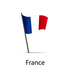 france flag on pole infographic element on white vector image