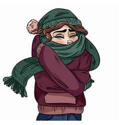 Girl in warm cozy scarf hand-drawn color vector