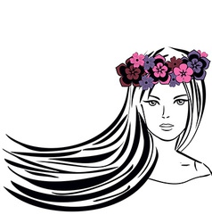 Girl with Long Hair in Wreath of Flowers vector image