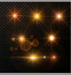Golden light glow and shimmer star highlight vector