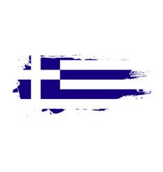 grunge brush stroke with greece national flag vector image