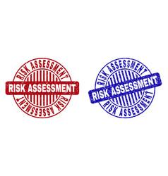 Grunge risk assessment textured round stamp seals vector