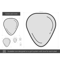 Guitar pick line icon vector image