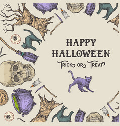 halloween wreath card or banner template vector image