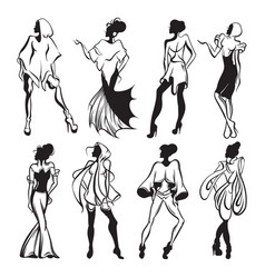 hand drawn collection with women in different vector image