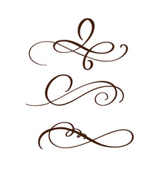 hand drawn flourish separator calligraphy elements vector image