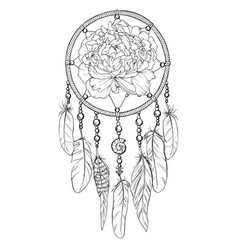 Hand drawn ornate dreamcatcher with peony bud vector