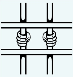 hands prisoner on lattice vector image