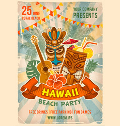 Hawaiian beach party poster template vector