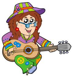 hippie guitar player vector image