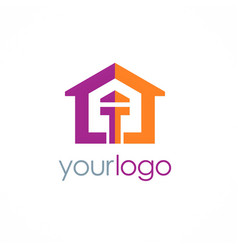 home colored logo vector image