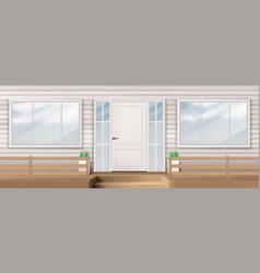 House facade with white door window siding wall vector