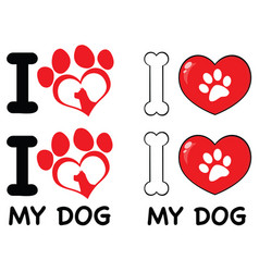 i love paw print logo design 03 collection vector image