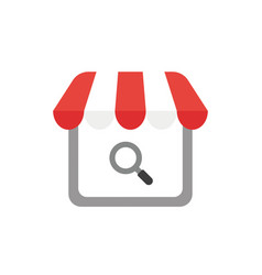 icon concept of shop store with magnifying glass vector image