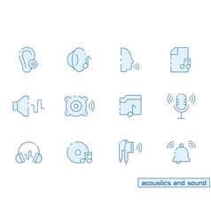 Icon set acoustics and sound in outline color vector