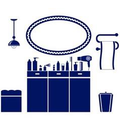interior set of bathroom icon vector image