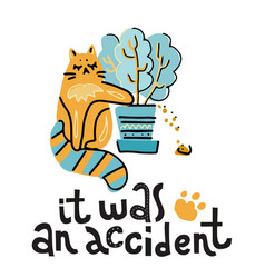 it was an accident - hand drawn lettering text vector image