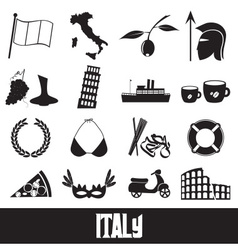 Italy country theme symbols and icons set eps10 vector