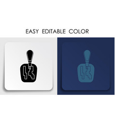 Lever for automatic gearbox icon on paper square vector