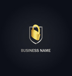 locked safe shield protect gold logo vector image