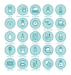 Makeup beauty care flat line icons cosmetics vector