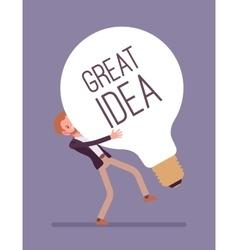 Man dragging a giant light bulb great idea vector