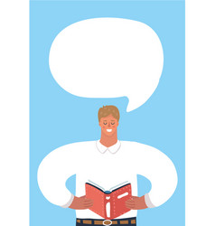 man read book and speech bubble vector image