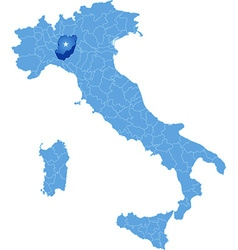 Map of Italy Piacenza vector image vector image