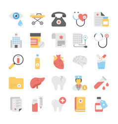 medical and health colored icons set vector image