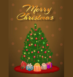 merry christmas design of greeting card with vector image