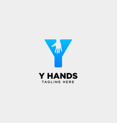 Minimal y letter initial hand logo template icon vector